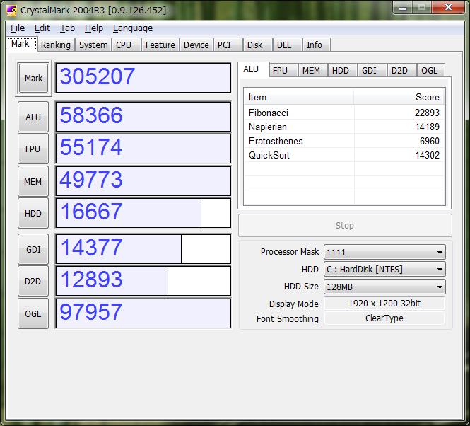 Intel Xeon X5670 で CrystalMark 2004R3